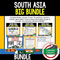 World Geography South Asia Bundle, Anchor Charts, Games, Guided Notes, Digital Choice Boards, Google Classroom, Word Walls