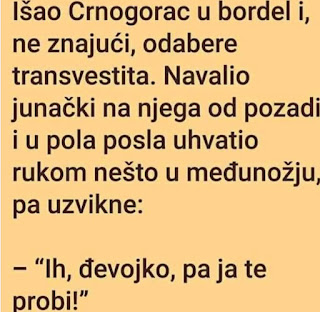 Smešan vic o crnogorcu sa transvestitom