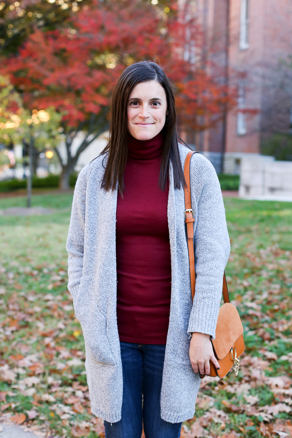 Naturally Me, Fall Outfit Idea, How to Wear a Long Cardigan, Zaful Long Cardigan, Grey Cardigan, Express Booties, Burgundy and Grey for Fall