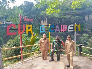 Viral di Medsos, Kapten Inf Enjang Bersama Tim Kecamatan Monitoring Wisata Curug Cawen