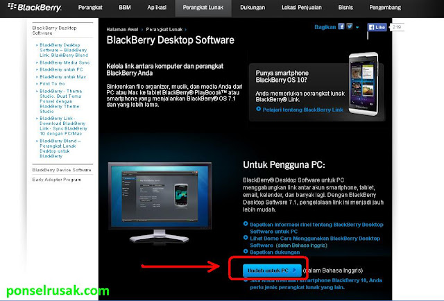 Website official buat download PC Suite untuk Blackberry.