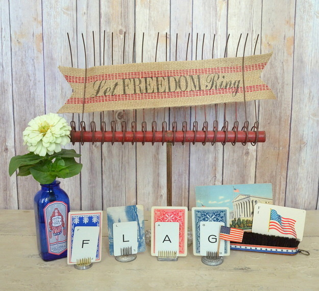 create a 4th of July vignette with vintage treasures