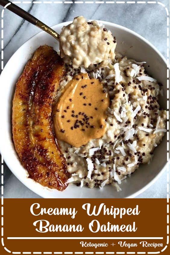 This recipe for creamy whipped banana oatmeal is simple Creamy Whipped Banana Oatmeal