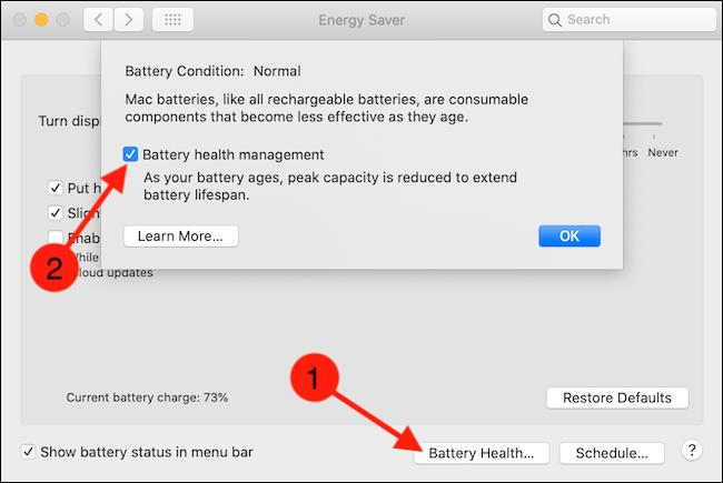 انقر فوق زر Battery Health ، ثم قم بإلغاء تحديد خيار Battery Health Management
