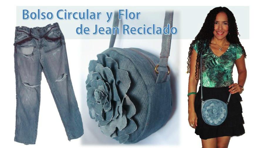 Bolso Circular y Flor , de Jean Reciclado