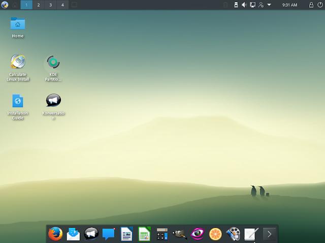 Calculate Linux 17 executando o ambiente de trabalho KDE Plasma 5.8.5 LTS