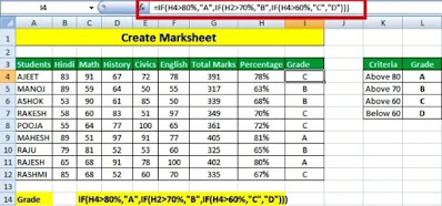 How to Create Marksheet in Excel Step by Step in Hindi