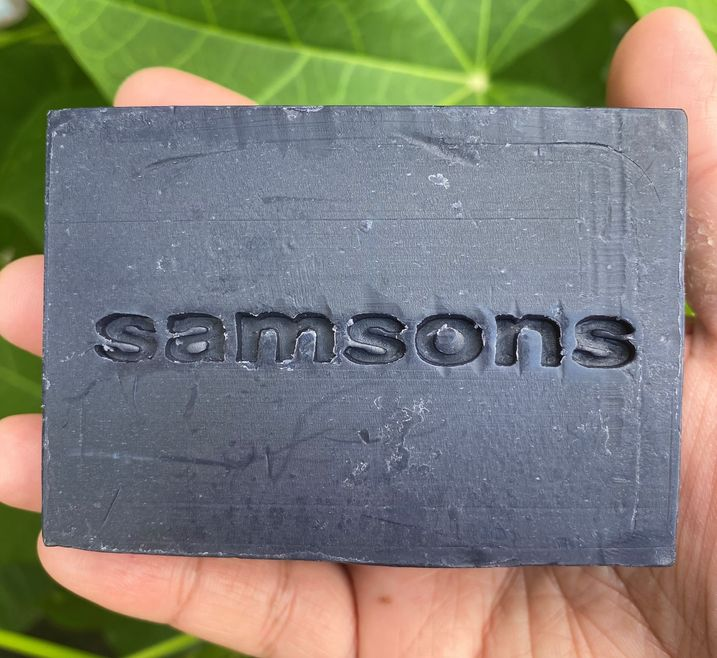 SAMSONS sandalwood, shea butter, and activated charcoal soap bar by Ed & Kes
