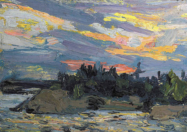 a J. E. H. MacDonald painting of a colorful Northern sky