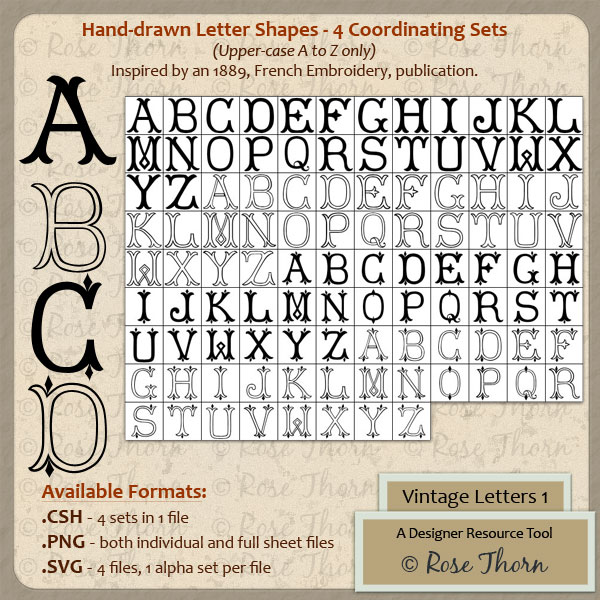Vintage Letters 1 - A Designer Resource Tool by Rose Thorn