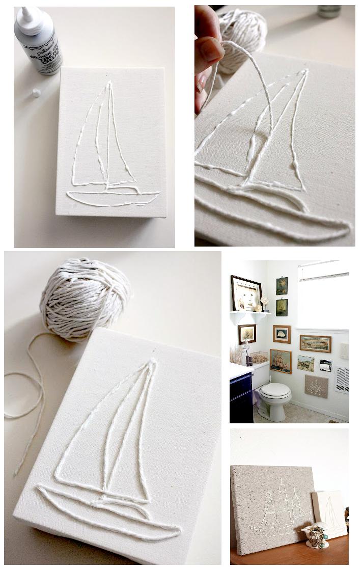 Como hacer un cuadro de hilos o cuerdas enrhedando - Como hacer un marco para un cuadro ...