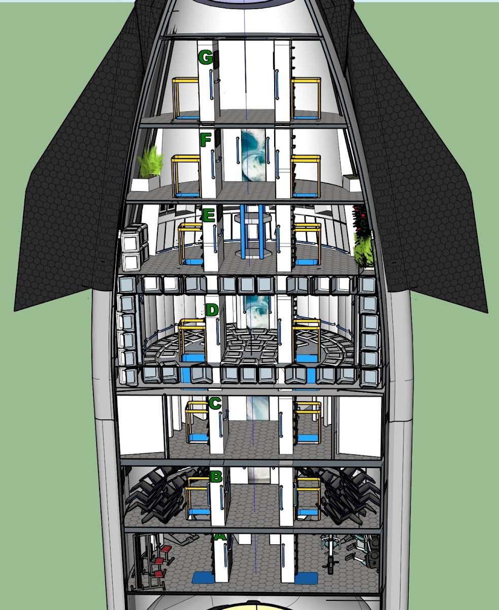 All Decks of SpaceX 100-passenger Starship design by Ace & Michel Lamontagne