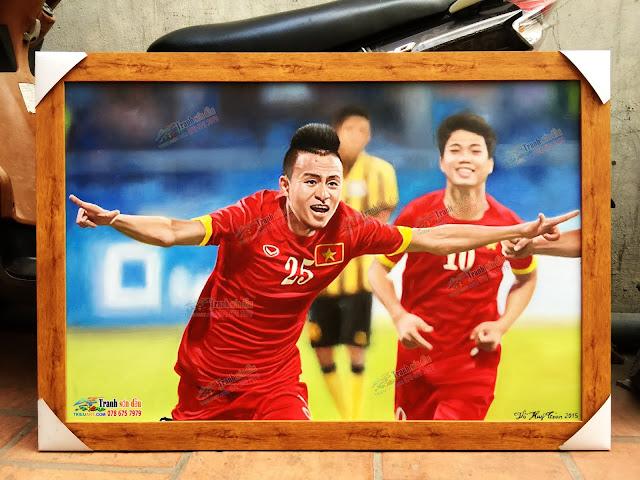 Vẽ Chân dung sơn dầu cầu thủ Võ Huy Toàn
