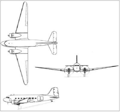 "Douglas C-47A/B, DC-3 ""Dakota"" taslak."