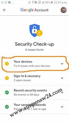 google chrome gmail account security checkup