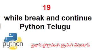 19 while break and continue Python Telugu