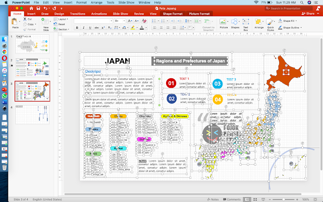 Editable Maps Regions and Prefectures of Japan