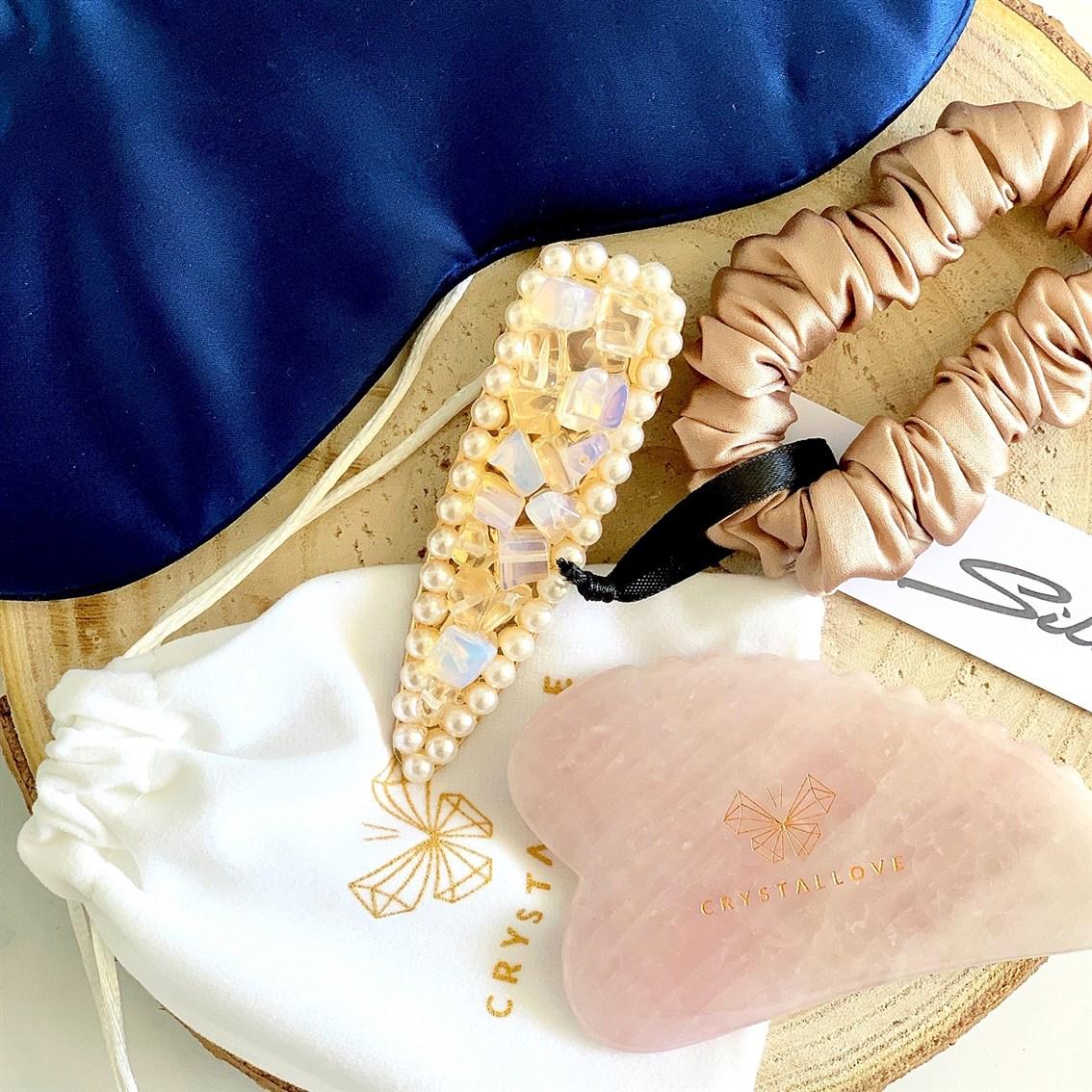 Crystallove płytka do masażu Gua Sha z kwarcu różowego