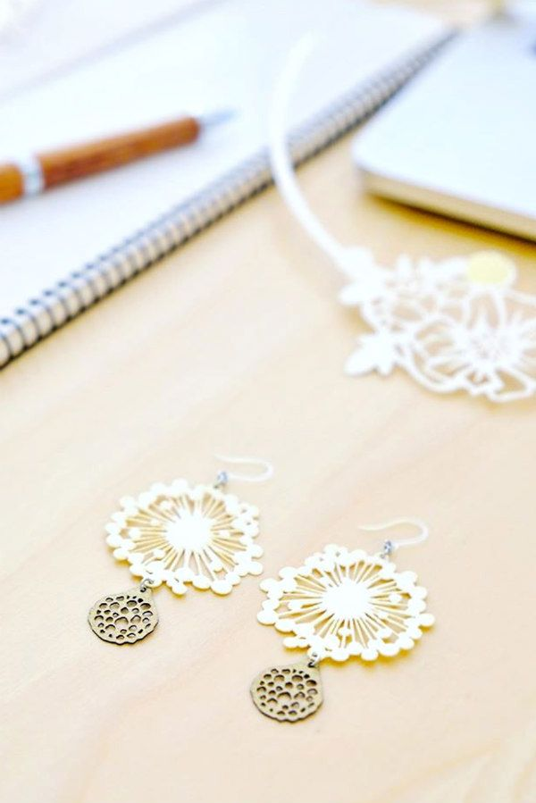 delicate blossom paper cut earring pair