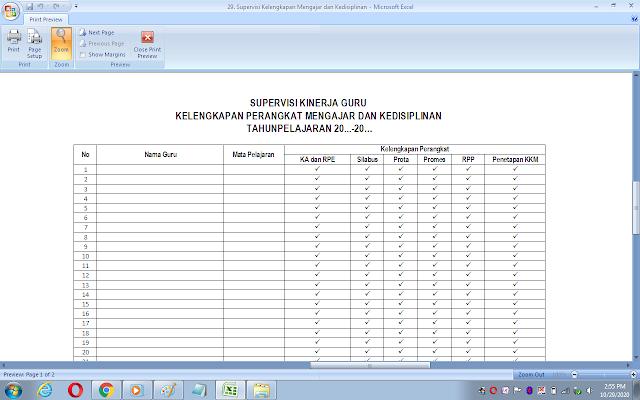 Format supervisi kelengkapan perangkat mengajar dan kedisiplinan