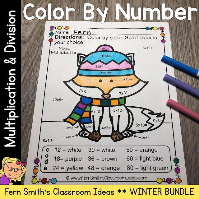 """Are You Ready for Some New Winter Multiplication and Division Color By Numbers for Your Class? Then You Will Love These Cute Animals """"Dressed For Winter"""" to Add Some Joy To Your Winter!"""