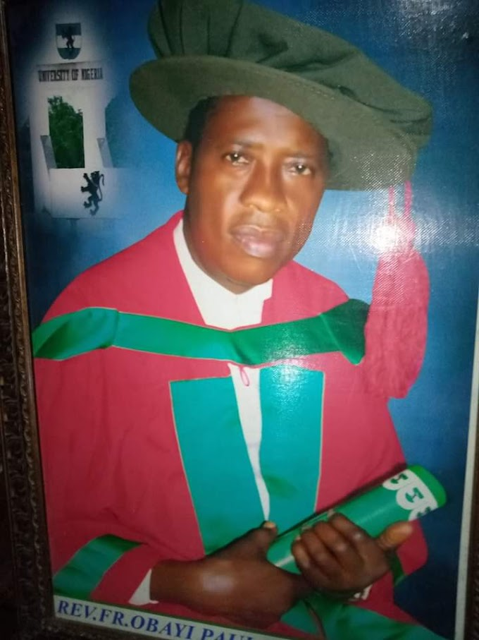JUST IN: OKAM Spiritual director, REV.Fr Paul Martin Obayi PHD ,declared and promoted to a  Professor