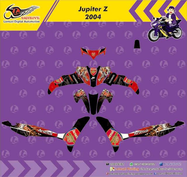 Custom decal vinyl striping motor full body motor yamaha jupiter z thema arsenal the gunner berkualitas by digitive