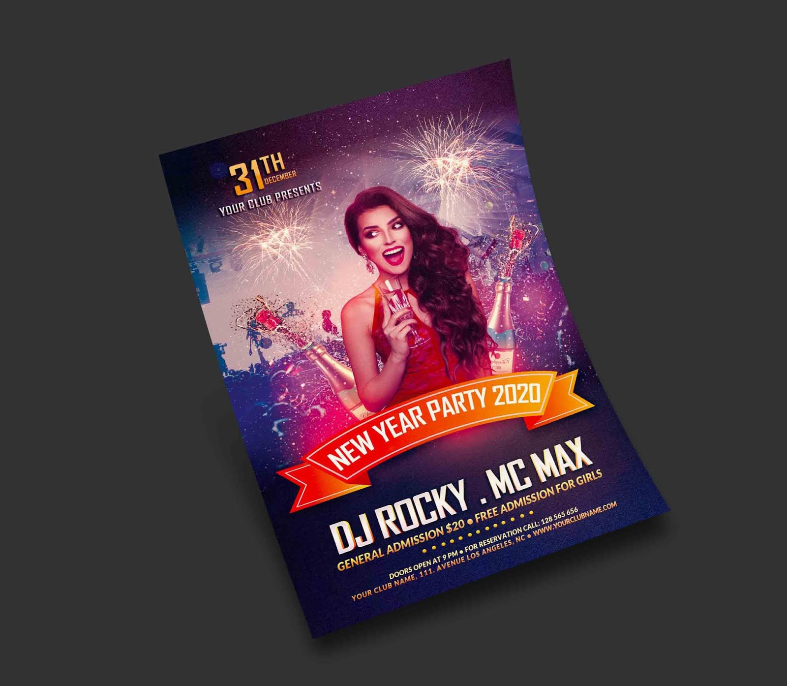Happy New Year 2020 Flyer PSD Free Download