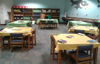 Tables set up for Book Tasting