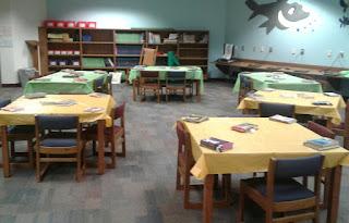 Tables set up for Book Tasting