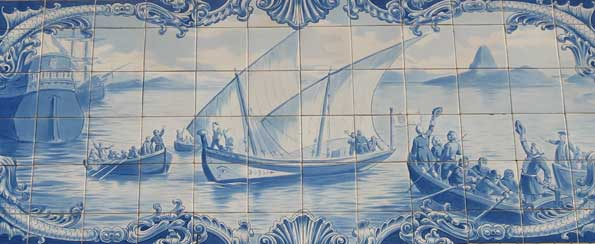 The boat depicted in azulejos tiles