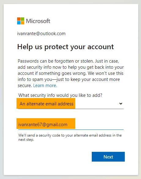 Email alternatif agar akun Outlook tidak menanyakan nomor hp