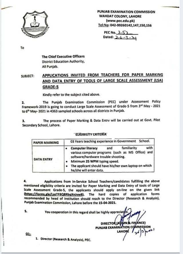 APPLICATIONS INVITED FROM TEACHERS FOR PAPER MARKING AND DATA ENTRY OF GRADE-5