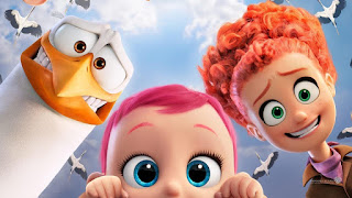 Junior the stork, Tulip the redheaded human, and little pink haired baby what's-her-name.