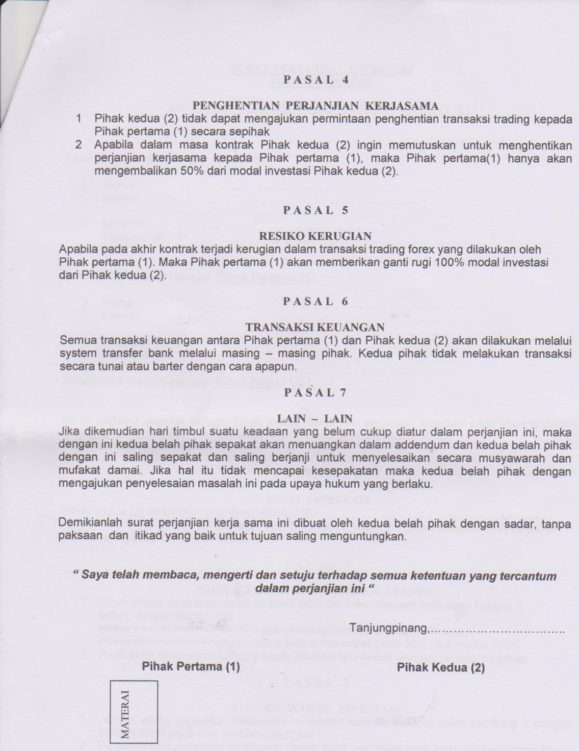 Contoh Surat Perjanjian Investasi Modal Usaha Contoh Seputar Surat