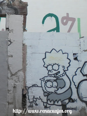 graffiti Lisa Simpson con una oveja