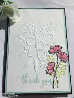 Thank you card. Lovely Floral Embossing Folder. Love What Yo Do Stamps. Global Design Project