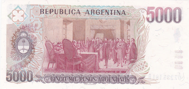 Argentina money currency 5000 Pesos Argentinos banknote 1985 Constitutional Conference of 1853, painting by Antonio Alice