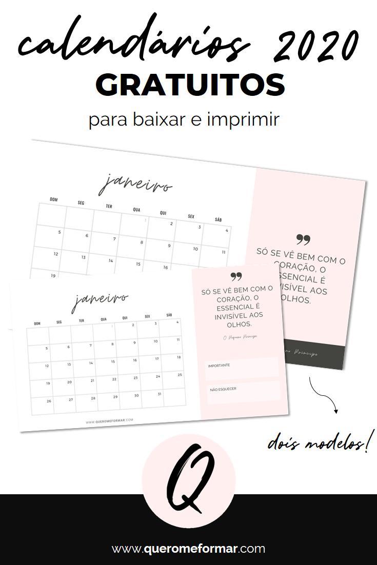 Imagens para Pinterest Calendários 2020 Gratuitos e Personalizados para Fazer Download e Imprimir + PLANNERS ESCOLARES