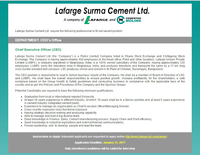 lafarge surma cement Lafarge surma cement limited (lsc or the company) has constructed a greenfield cement plant with a capacity of 12 million tons per year in northeastern bangladesh (the project) the plant is.