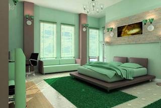 Warna dinding kamar tidur hijau tosca
