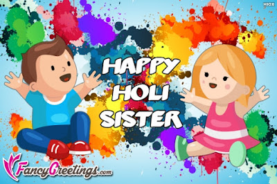 happy holi image for sister