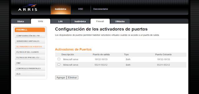 Activar puertos Firewall modem Arris