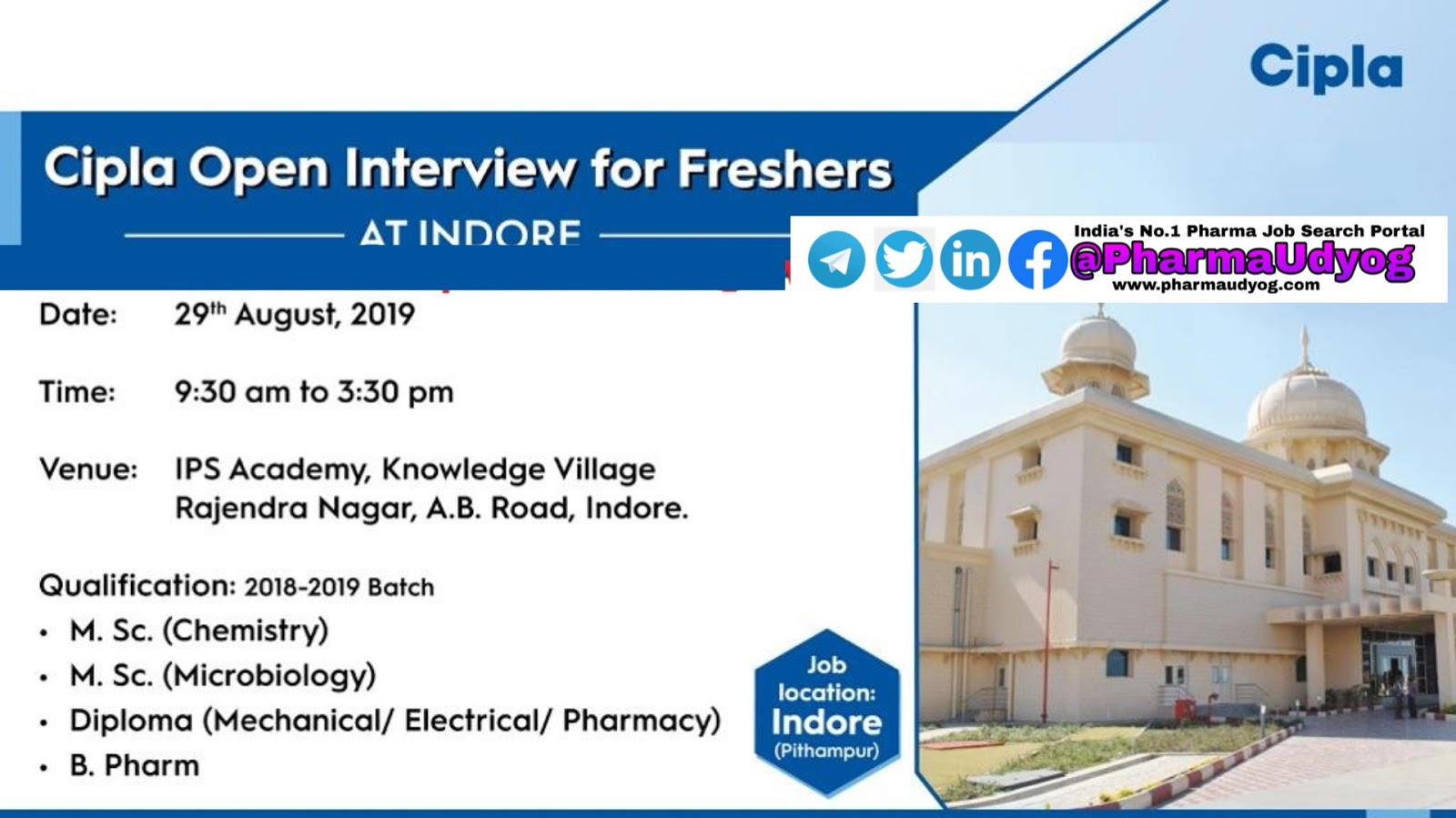 Cipla | Walk-in interview for Freshers | 29 August 2019 | Indore