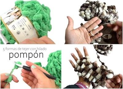 Hilado de madeja pompón cómo tejer con 5 métodos