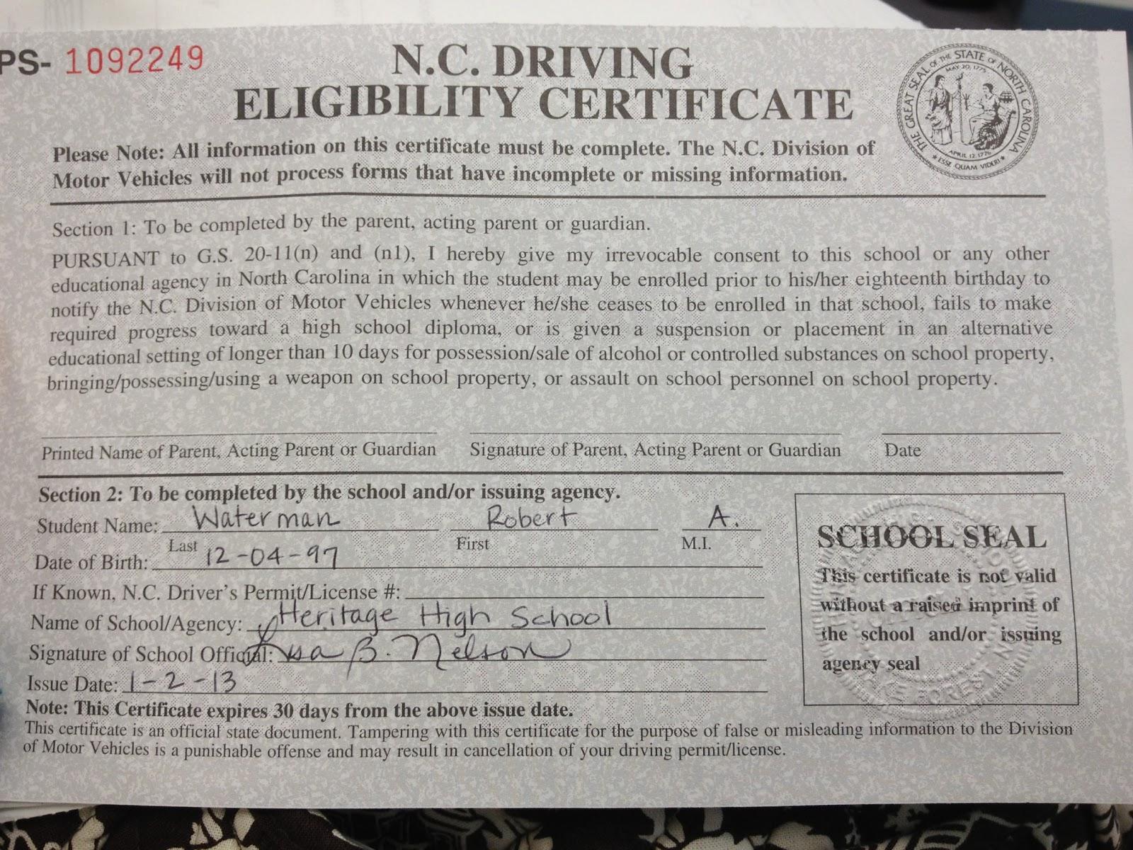 2013 2013 Drivers License North Carolina North Carolina License Drivers