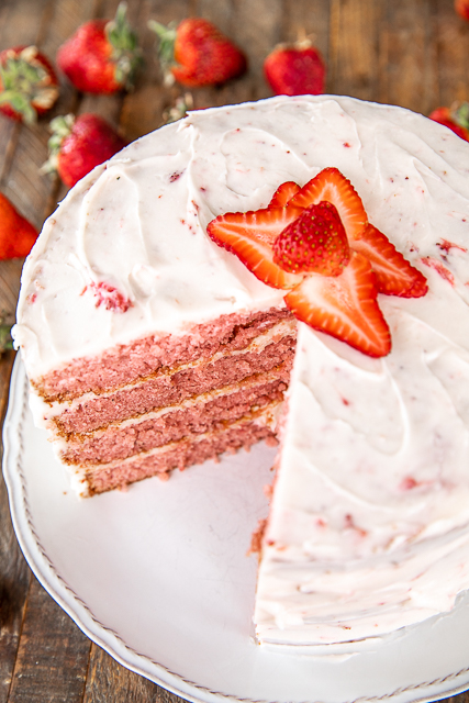 cream cheese frosted strawberry layer cake