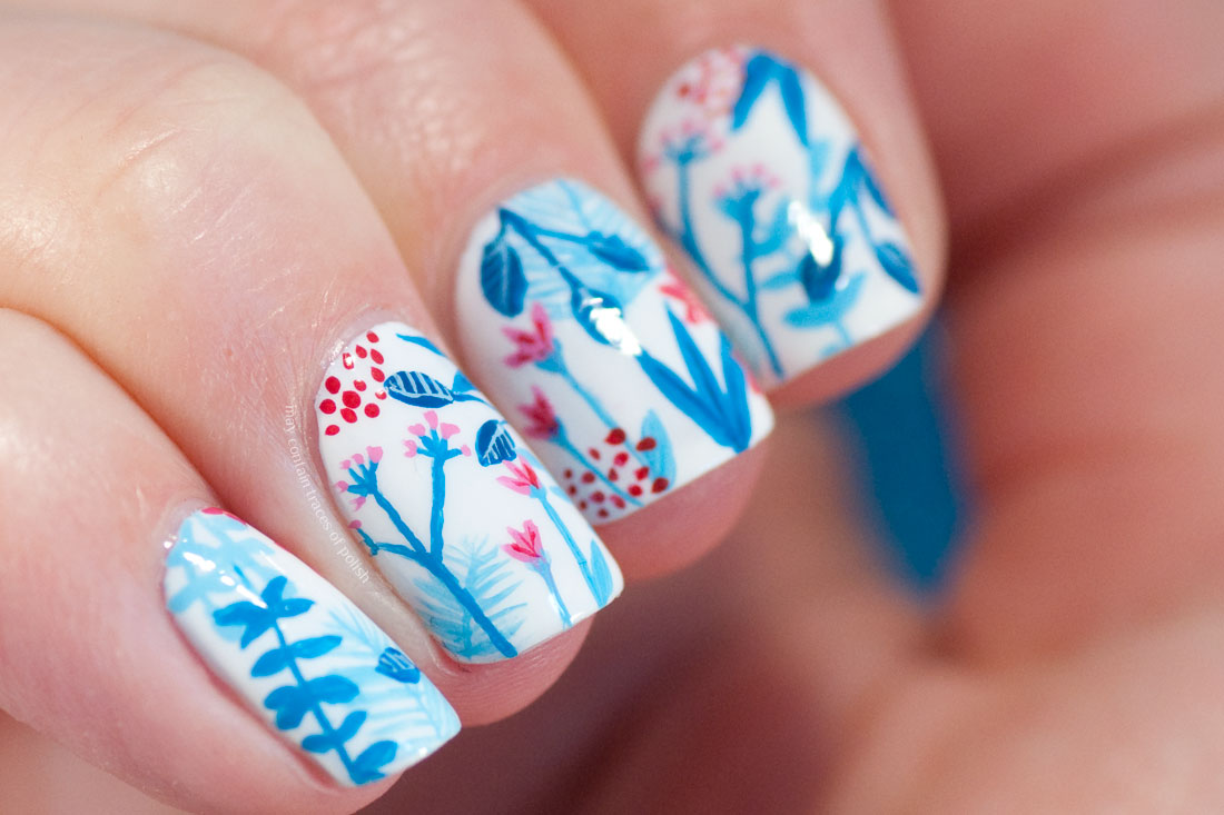 Easy painted Floral Nail Art Design blue, pink and white