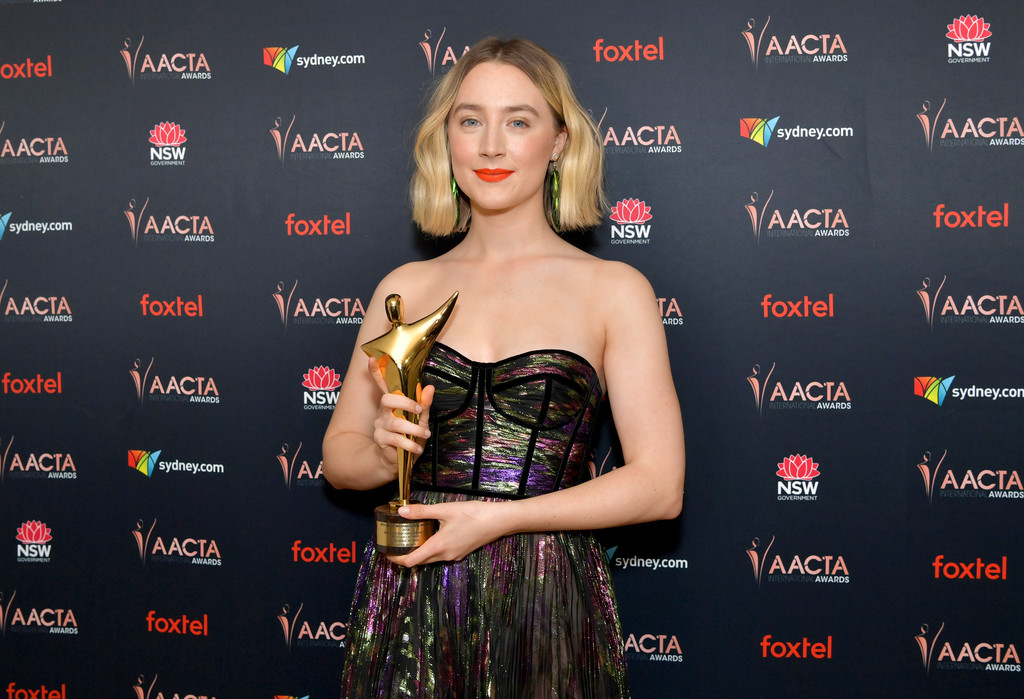 Saoirse Ronan wins Best Actress at the AACTA Awards in LA; sizzles in metallic strapless gown