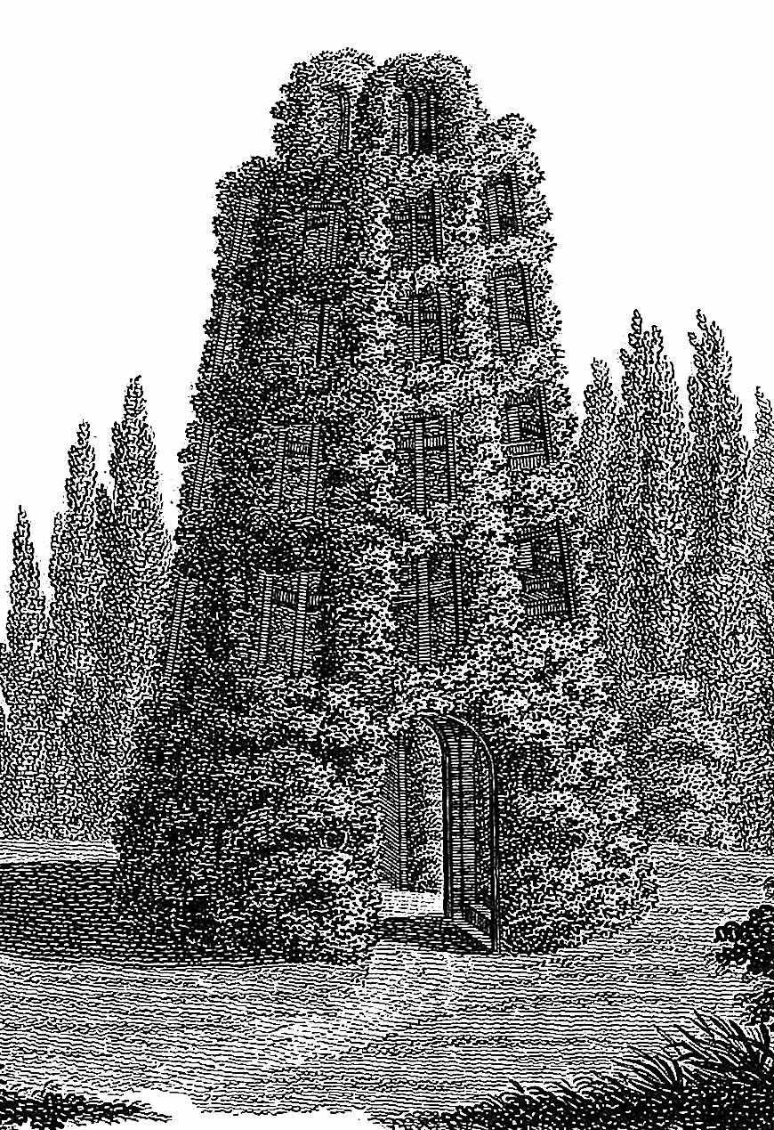 an illustration of an 1836 topiary structure